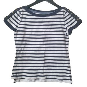 LRL women's nautical stripe button detail t-shirt